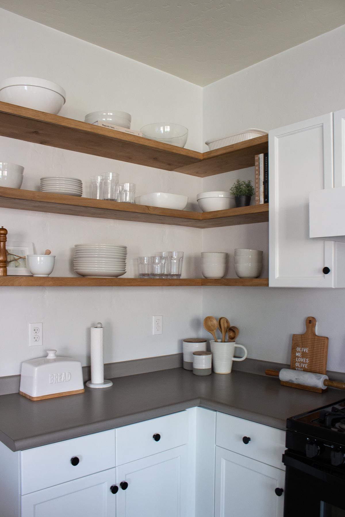 Diy Floating Corner Shelves In Kitchen